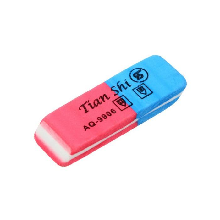 Ластик комбинированный Tian Shi красно-синий скошен