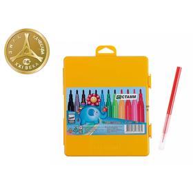 Фломастеры 12 цветов Стамм «Веселые игрушки», смываемые, линия письма 400 м, в желтом пенале, европодвес