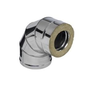 Колено Феррум утеплённое угол 90° нержавеющее 430/0.5 мм/зеркальное, d 150 × 210 мм