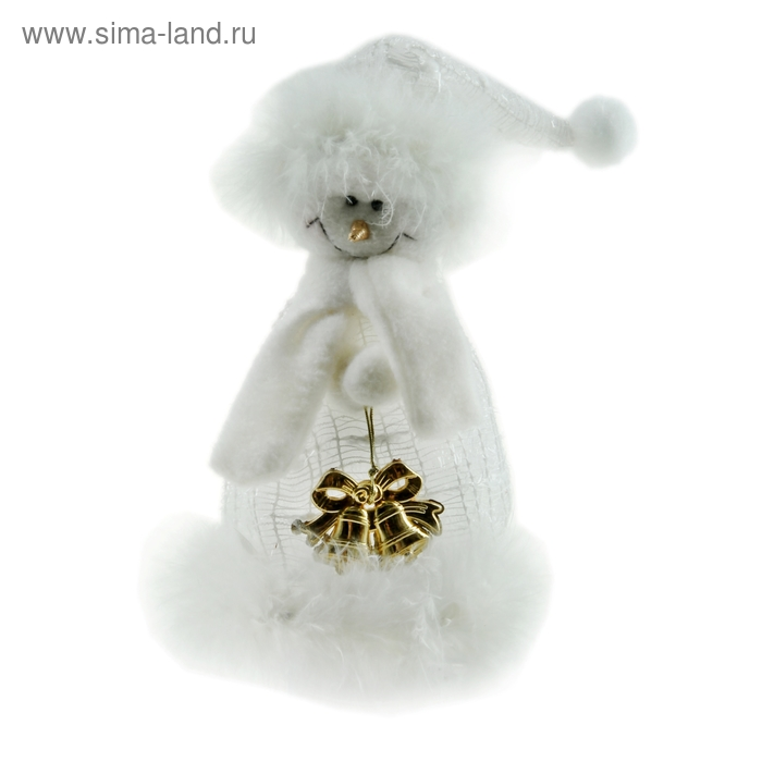 """Мягкая игрушка """"Кружевной снеговик с колокольчиками"""""""