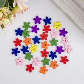 "A set of buttons decorative tree ""Bright flowers"" (set of 30 PCs) MIX 1,5x1,5 cm"