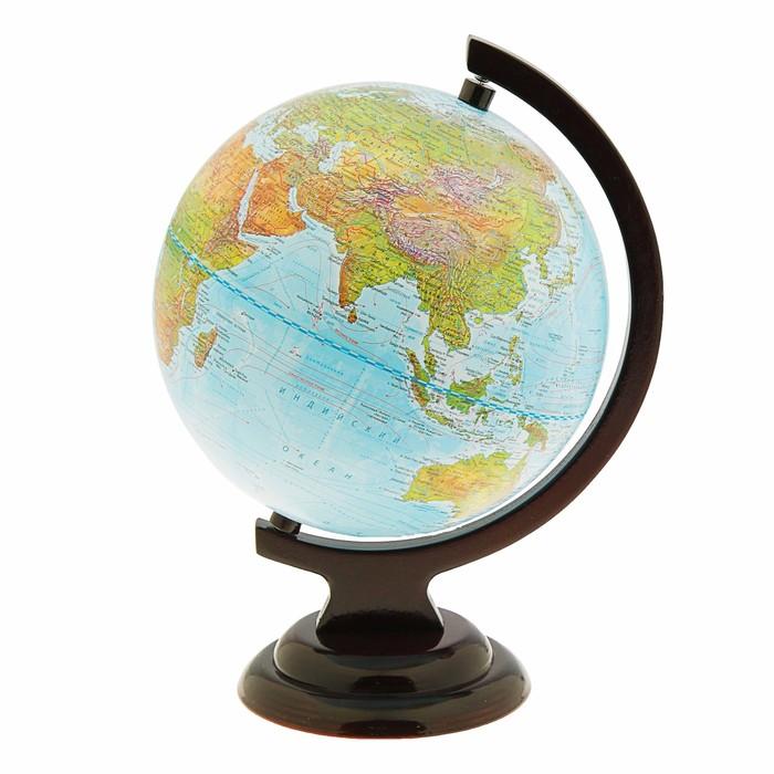 Глобус Земли ландшафтный 210мм, деревянная подставка 10227