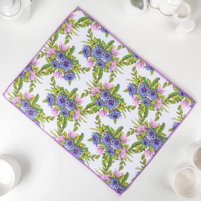 Салфетка для сушки посуды Доляна «Полевые цветы», 38×50 см, микрофибра