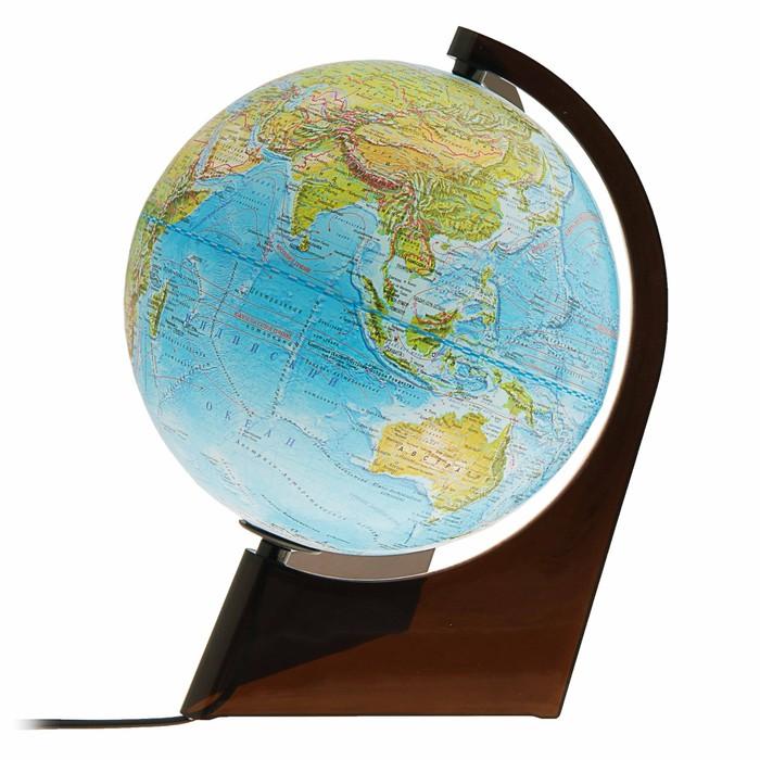 Глобус Земли физико-политический, диаметр 210 мм, с подсветкой, треугольная подставка