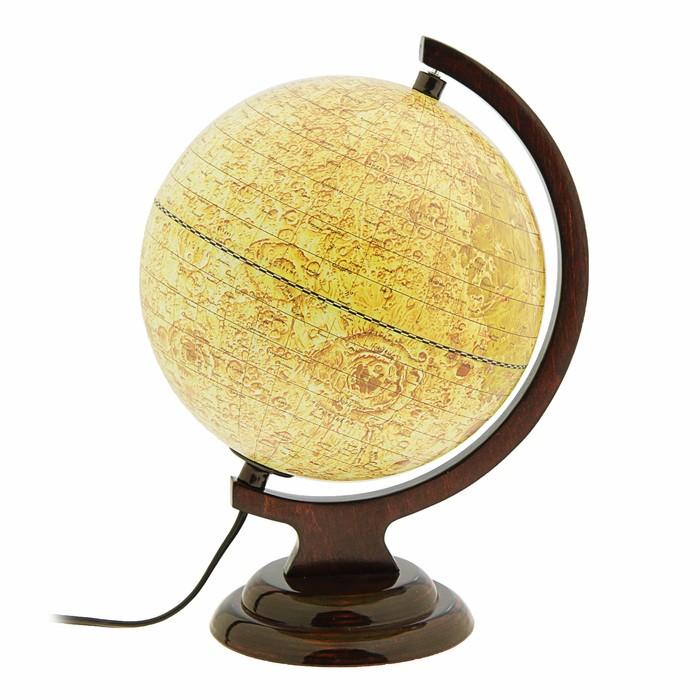 Глобус Луна, диаметр 210 мм, с подсветкой, деревянная подставка