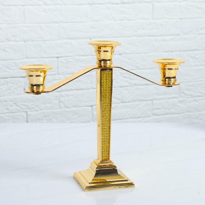 Подсвечник, 3-х рожковый, 26×8.2×23.5 см, золото
