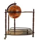 Глобус-бар декоративный напольный с двойными полочками, d = 35 см