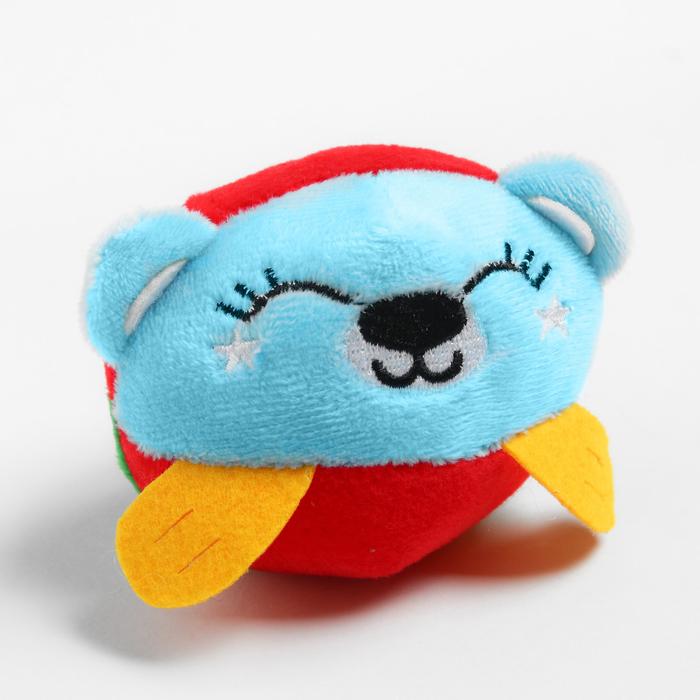Развивающая, мягкая игрушка - мячик «Мишка», с погремушкой, в сумочке