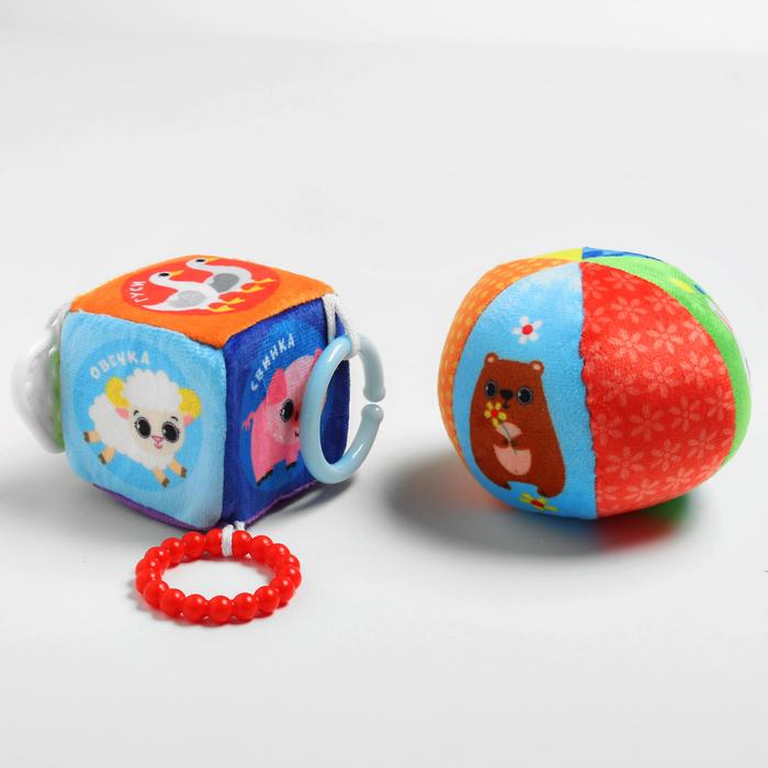 Набор игрушек, 2 предмета: развивающий мячик «Лесные животные», кубик с прорезывателем «Домашние животные»