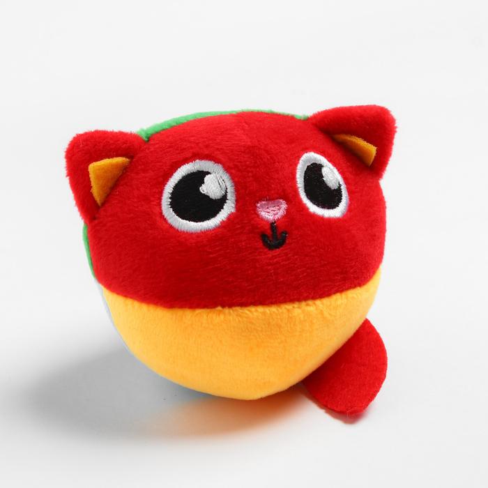 Развивающая, мягкая игрушка - мячик «Котик», с погремушкой, в сумочке
