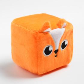 Развивающая игрушка, мягкий кубик  «Лисичка», с погремушкой, в сумочке