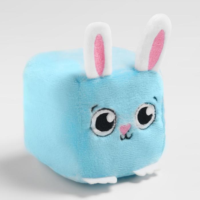 Развивающая игрушка, мягкий кубик «Зайчик», с погремушкой, в сумочке