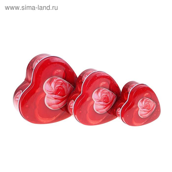 "Шкатулка ""Розовое сердце"", набор из 3-х шт"