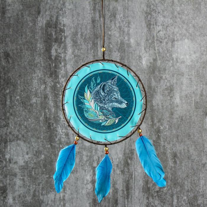 """Ловец снов """"Призрачный волк"""" диам 20 см - фото 798183461"""