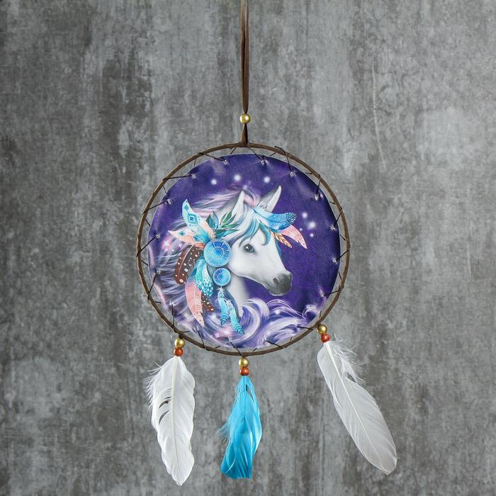 """Ловец снов """"Конь"""" диам 20 см - фото 798183582"""