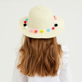 Шляпа с бомбошками для девочки MINAKU, размер 50, цвет белый