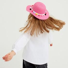 Шляпа с бомбошками для девочки MINAKU, размер 50, цвет розовый