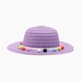 Шляпа с бомбошками для девочки MINAKU, цвет фиолетовый, размер 50