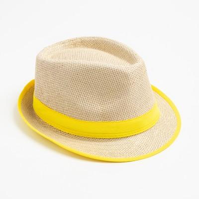 """Шляпа женская MINAKU """"Летняя"""", размер 56-58, цвет жёлтый"""