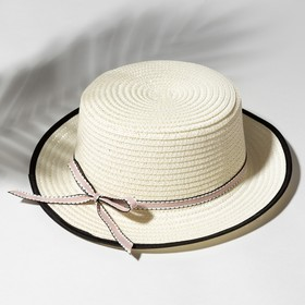 """Шляпа для девочки MINAKU """"Леди"""", размер 52-54, цвет экрю"""