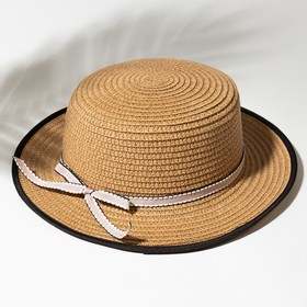 """Шляпа для девочки MINAKU """"Леди"""", размер 52-54, цвет бежевый"""