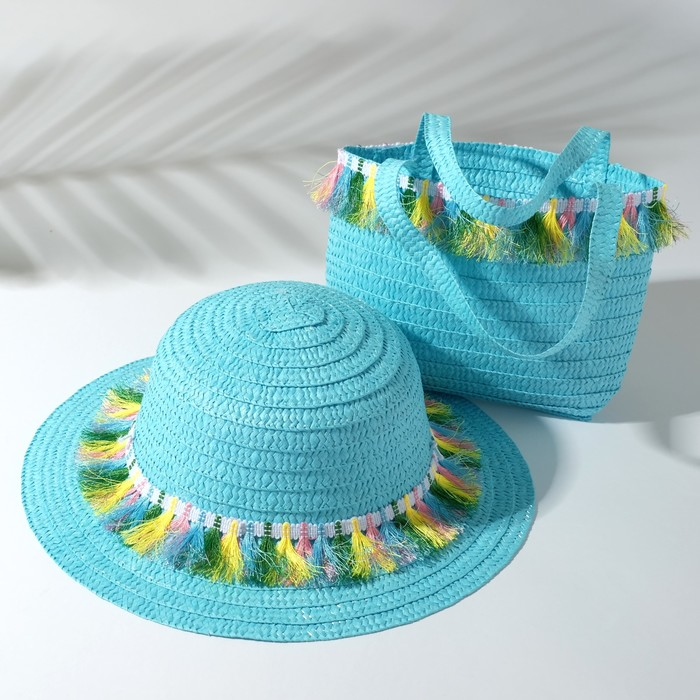 Набор для девочки (шляпа, сумочка) MINAKU, размер 50, цвет голубой