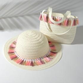 Набор для девочки (шляпа, сумочка) MINAKU, размер 50, цвет белый