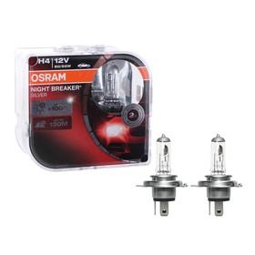 Лампа автомобильная Osram Night Breaker Silver +100%, H4, 12В, 60/55 Вт, набор 2 шт