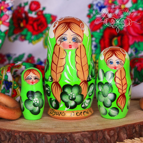 Матрёшка 3-х кукольная «Душа России», зелёная, 11 см