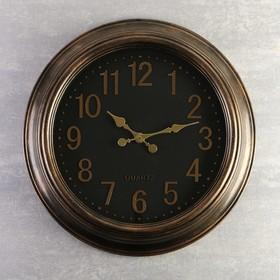 """Часы настенные, серия: Классика, """"Куала"""", коричневый обод, цифры золото, d=50 см"""