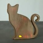 Светильник деревянный «Котик», 17.2 × 18.9 см