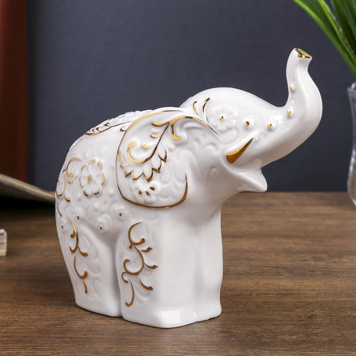 """Сувенир """"Слон с узорами"""" белый с золотом 14х15,5х6 см"""