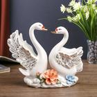"""Сувенир """"Белые лебеди с цветами"""" 21х21х7,5 см"""