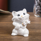 "Souvenir ""Cat with fish"" white with rhinestones 7,5x5,5x4,2 cm"
