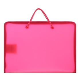 Папка, пластиковая, А5, 230 х 185 х 25 мм, молния вокруг, «Оникс», ПТ-112, «Офис», тонированная, цвет красный