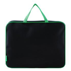 Папка с ручками, текстильная, А4, 350 х 265 х 45 мм, «Оникс», ПМД 2-42, внутренний карман, «Офис», цвет чёрный-салатовый