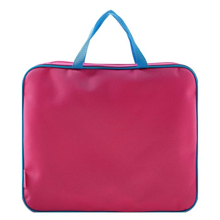 Папка с ручками текстиль А4 350х265х45 мм, розово-ярко-голубая
