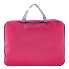 Папка с ручками, текстильная, А4, 350 х 265 х 45 мм, «Оникс», ПМД 2-42, внутренний карман, «Офис», цвет розовый-серый