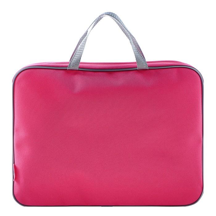 Папка с ручками текстиль А4 350х265х45 мм, розово-серая