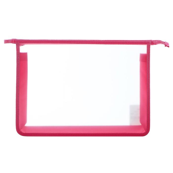 Папка пластиковая А4, молния сверху, Офис Б/ЦВ ПТ- 850 (шк), розовая