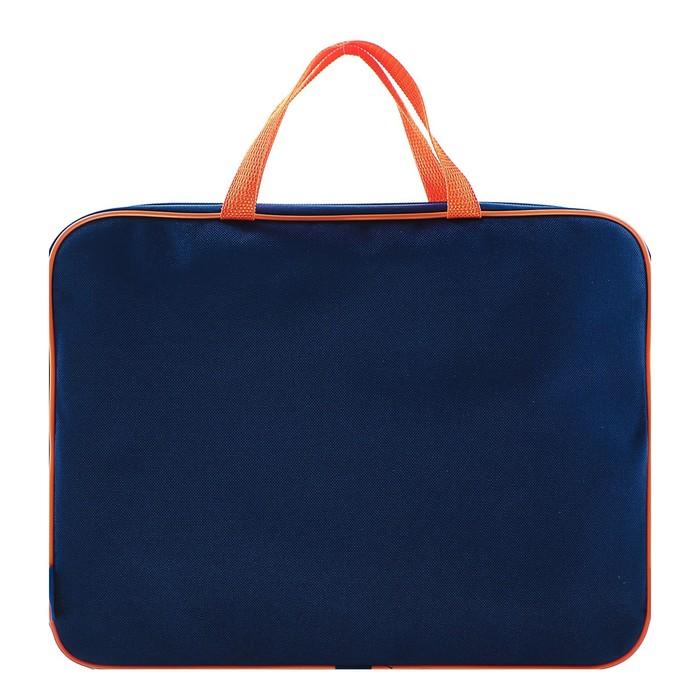 Папка с ручками текстиль А4 350х265х45 мм, тёмно-сине-оранжевая
