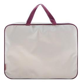 Папка с ручками, текстильная, А4, 350 х 265 х 45 мм, «Оникс», ПМД 2-42, внутренний карман, «Офис», цвет бежевый-бордовый
