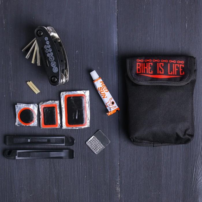 """Набор """"Bike"""", универсальный ключ, ремкомплект, иструмент для разбортировки шин, чехол"""