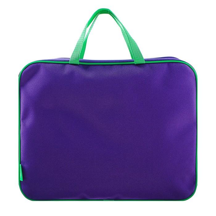 Папка с ручками текстиль А4 350х265х45 мм, фиолетово-салатовая