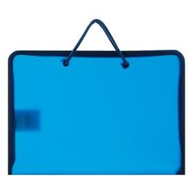 Папка, пластиковая, А5, 230 х 185 х 25 мм, молния вокруг, «Оникс», ПТ-112, «Офис», тонированная, цвет тёмно-синий