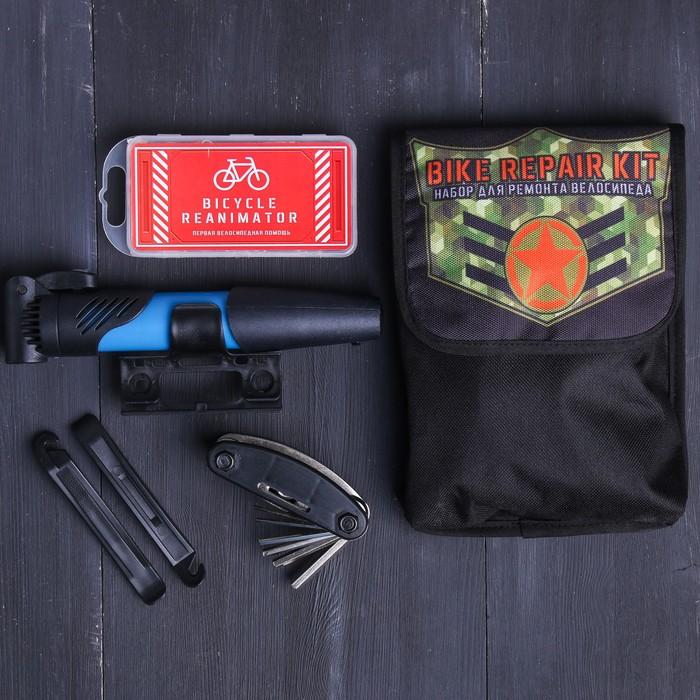 """Набор """"Bike"""", универсальный ключ, ремкомплект, иструмент для разбортировки шин, насос"""