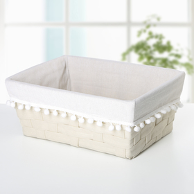 Корзина для хранения плетеная 33×27×13 см «Уют», цвет молочный
