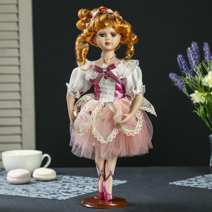 """Кукла коллекционная керамика """"Балерина в платье цвета пыльная роза"""" 35 см"""
