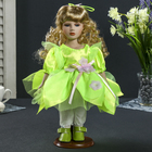 "Doll collectible ceramics ""Anisa in green short dress elf"" 30 cm"