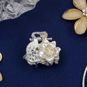 Краб для волос 'Бутон' 2,3 см пышный цветок серебро Ош